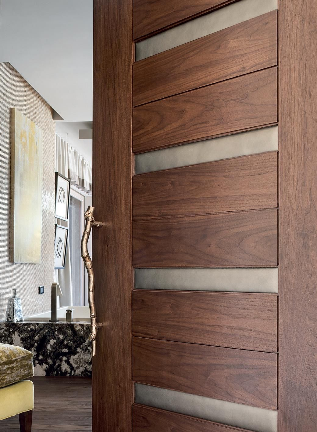 27 Nice Wooden Bathroom Doors Decor Walnut Wooden Trustile Doors With Leather Insert For In Keyword Bathroom Door Design Modern Modern Door Door Design
