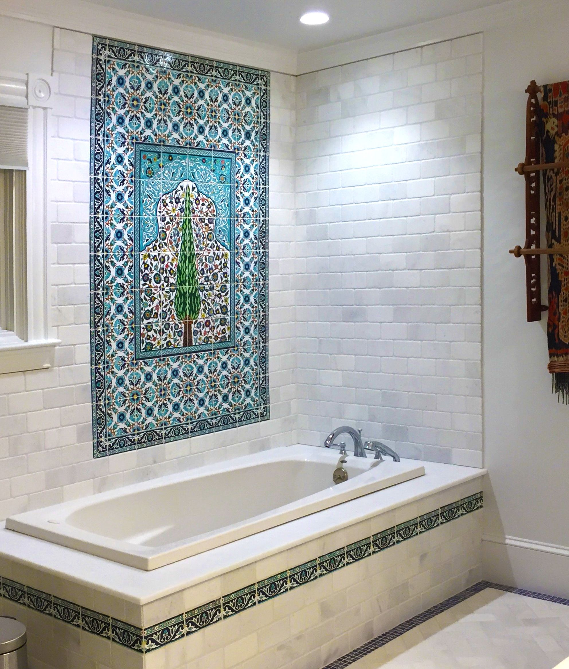 Spectacular hand painted tile bathroom by the Balian tile studio in ...