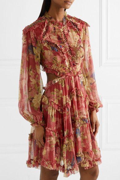 c826daaf8e085 Zimmermann | Melody cutout floral-print silk-crepon mini dress |  NET-A-PORTER.COM