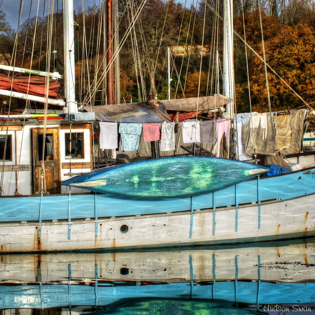 Laundry Day! Boat moored up at Penryn Creek.