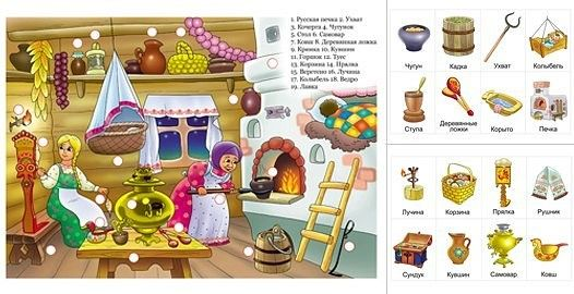 Русская изба предметы быта картинки для детей