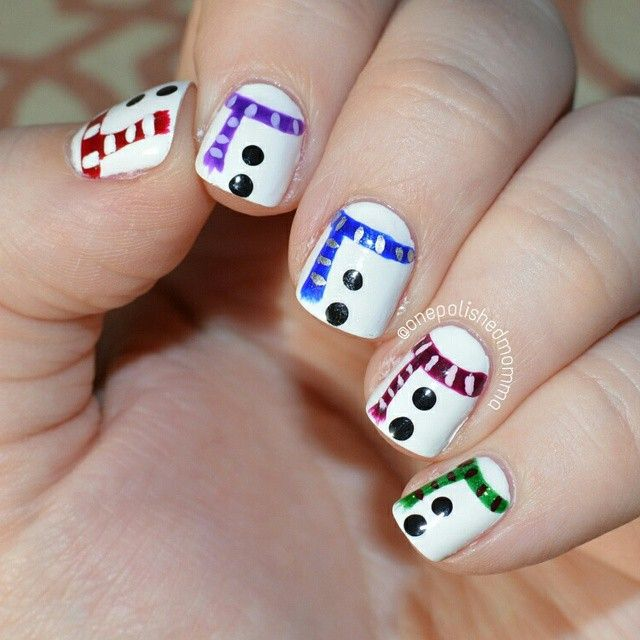 Snowman Nail Art Tutorial: Winter Snowman Scarf Nails By @onepolishedmomma