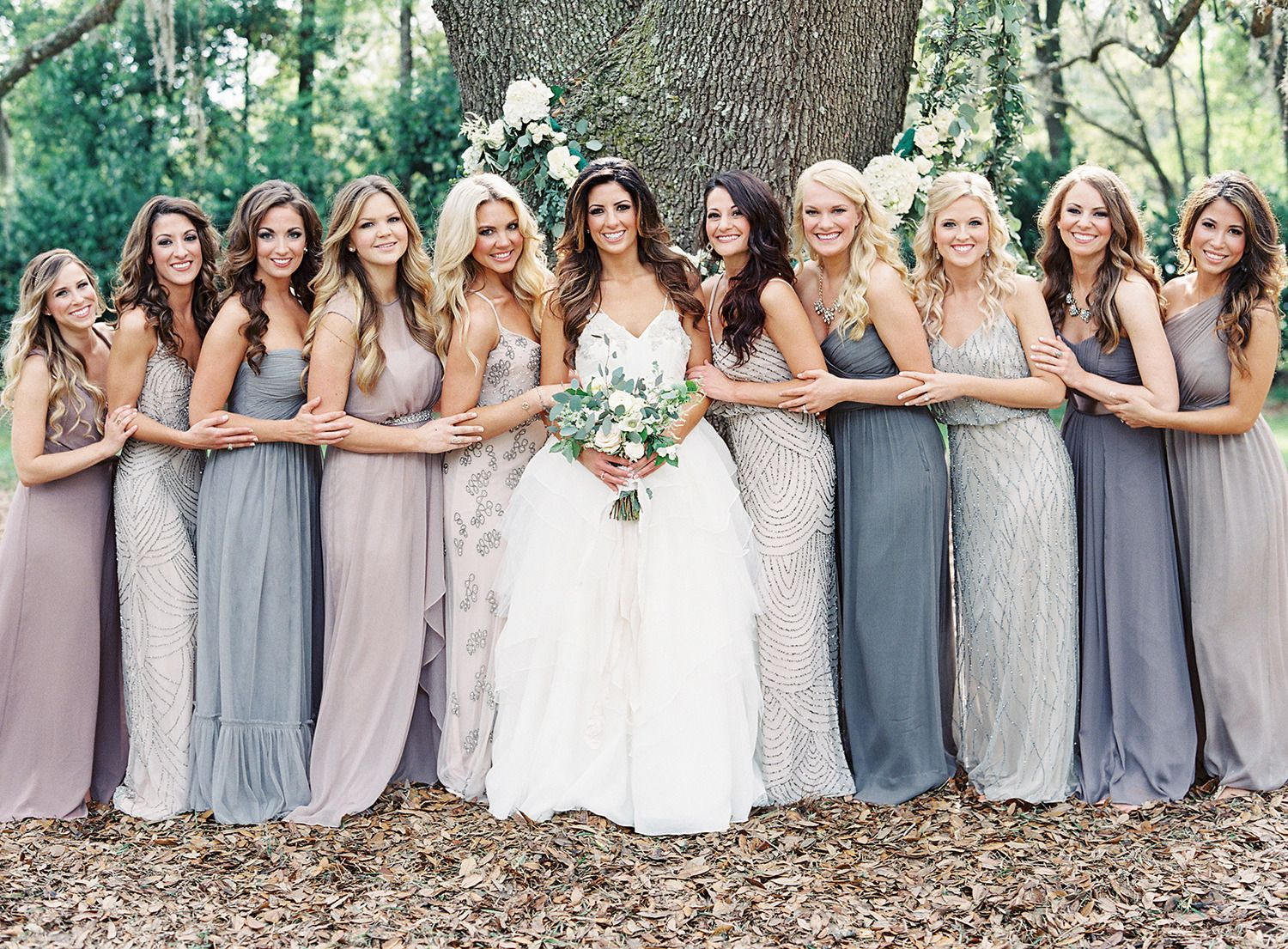 Shades Of Grey Mix And Match Bridesmaids In Blue Lavender Adrianna Papell Bridesmaid Gowns Photography Lauren Le