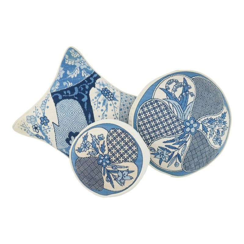 Blue & White Chinoiserie Needlepoint Pillows - Set of 3