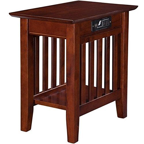 Atlantic Furniture Newberry Chair Side End Table In Walnut Click Image To Review More Details Note I Atlantic Furniture Chair Side Table Walnut Side Tables