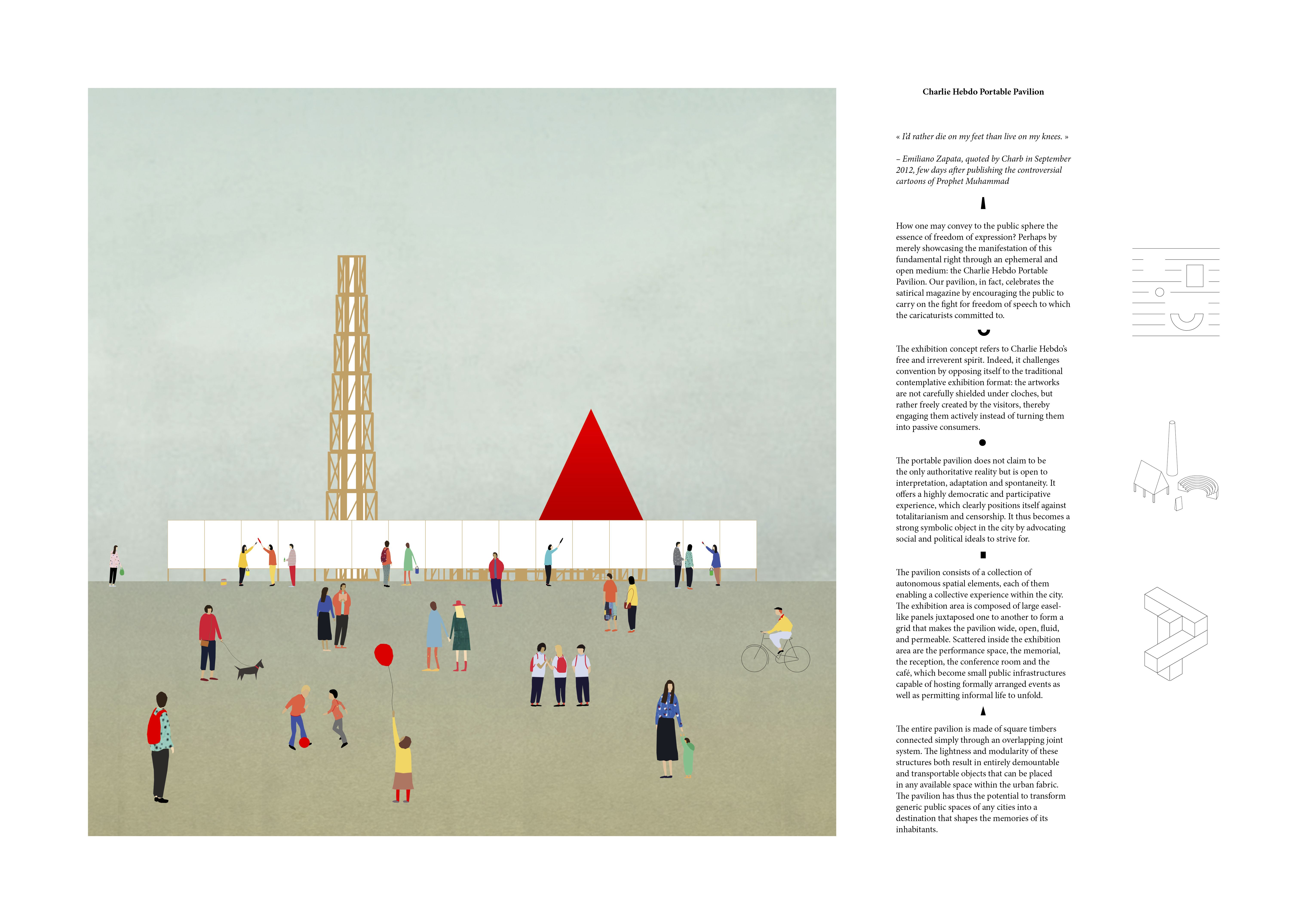Charlie Hebdo Portable Pavilion Architecture Competition Modular