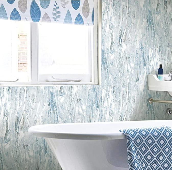 Roommates Marble Seas Blue Peel And Stick Wallpaper In 2020 Peel And Stick Wallpaper Wallpaper Roll Room Visualizer