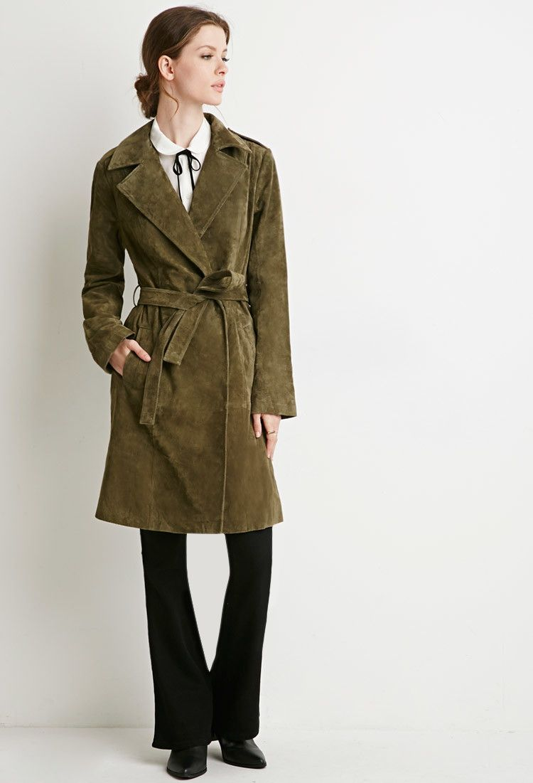 b1a2771a7 Contemporary Genuine Suede Belted Trench Coat