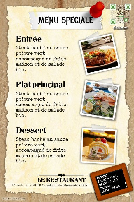 Pin by PosterFrance Gratuit on Flyer pour restaurant | Pinterest ...