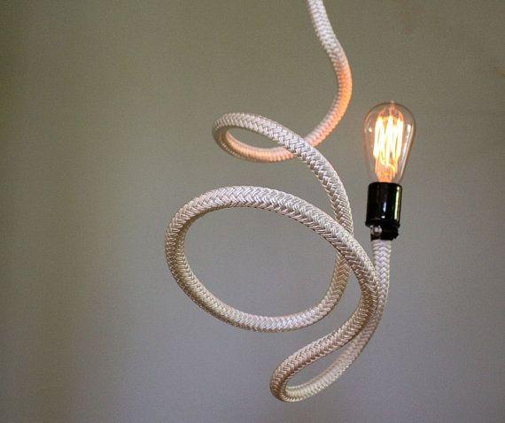 Bare Bulb Pendant Light Fixture Bendable White Rope Cord