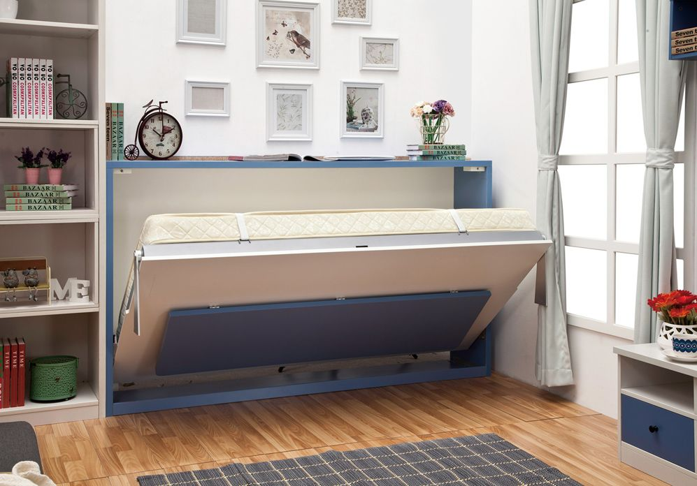 Horizontal wall bed with folding bed | Wall bed, Bed ...