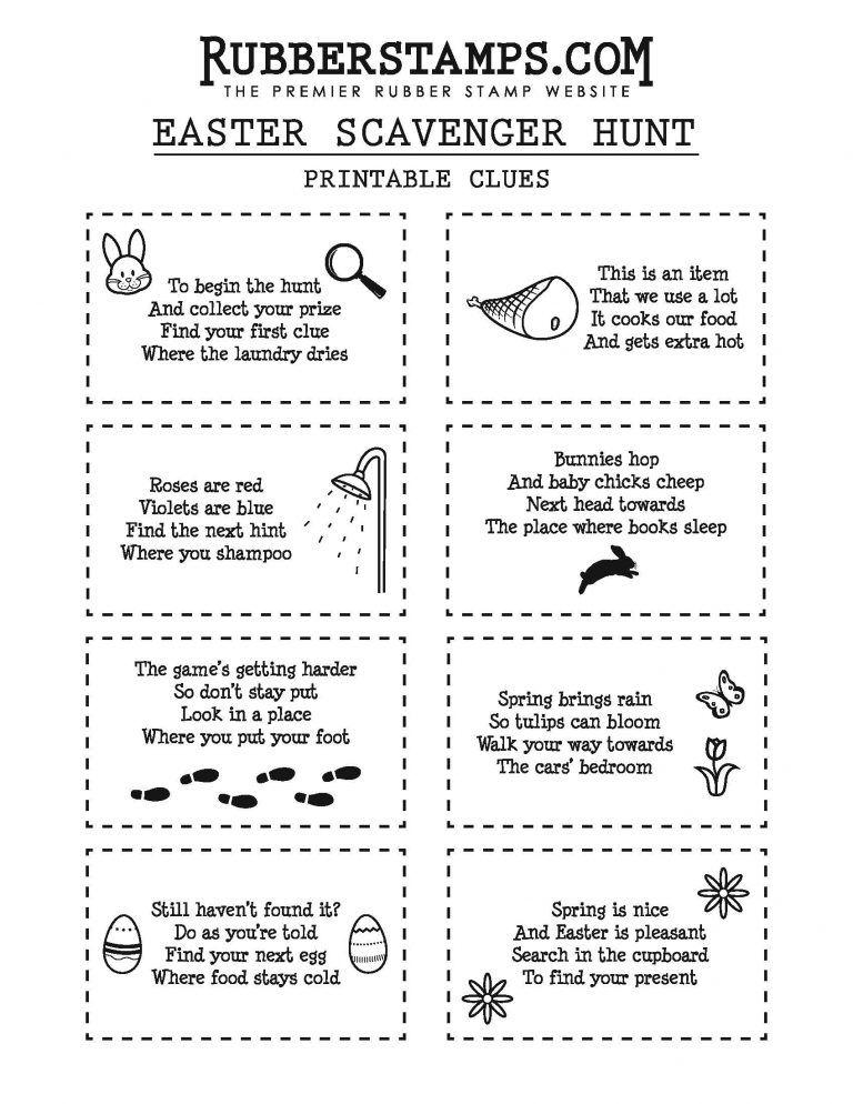 DIY Easter Scavenger Hunt Clues + Free Printable Easter