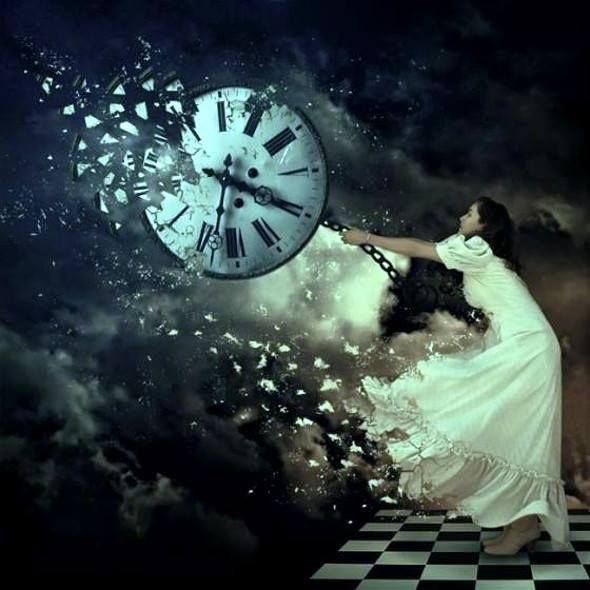 beautiful woman trying to stop time/clock/chess board ...