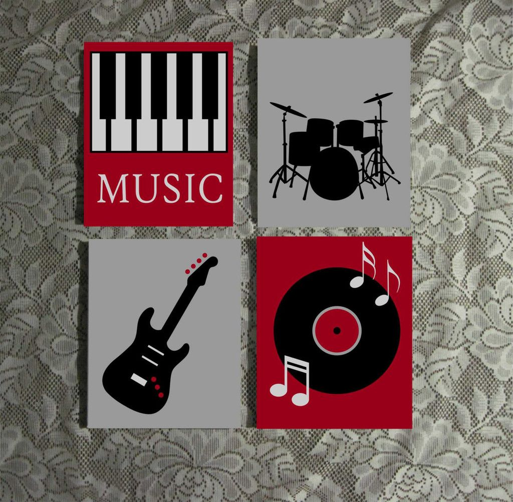 Hand Painted Canvas Set Music Theme Art Guitar Piano Drums Musical Wall Art Music Canvas Music Room Decor