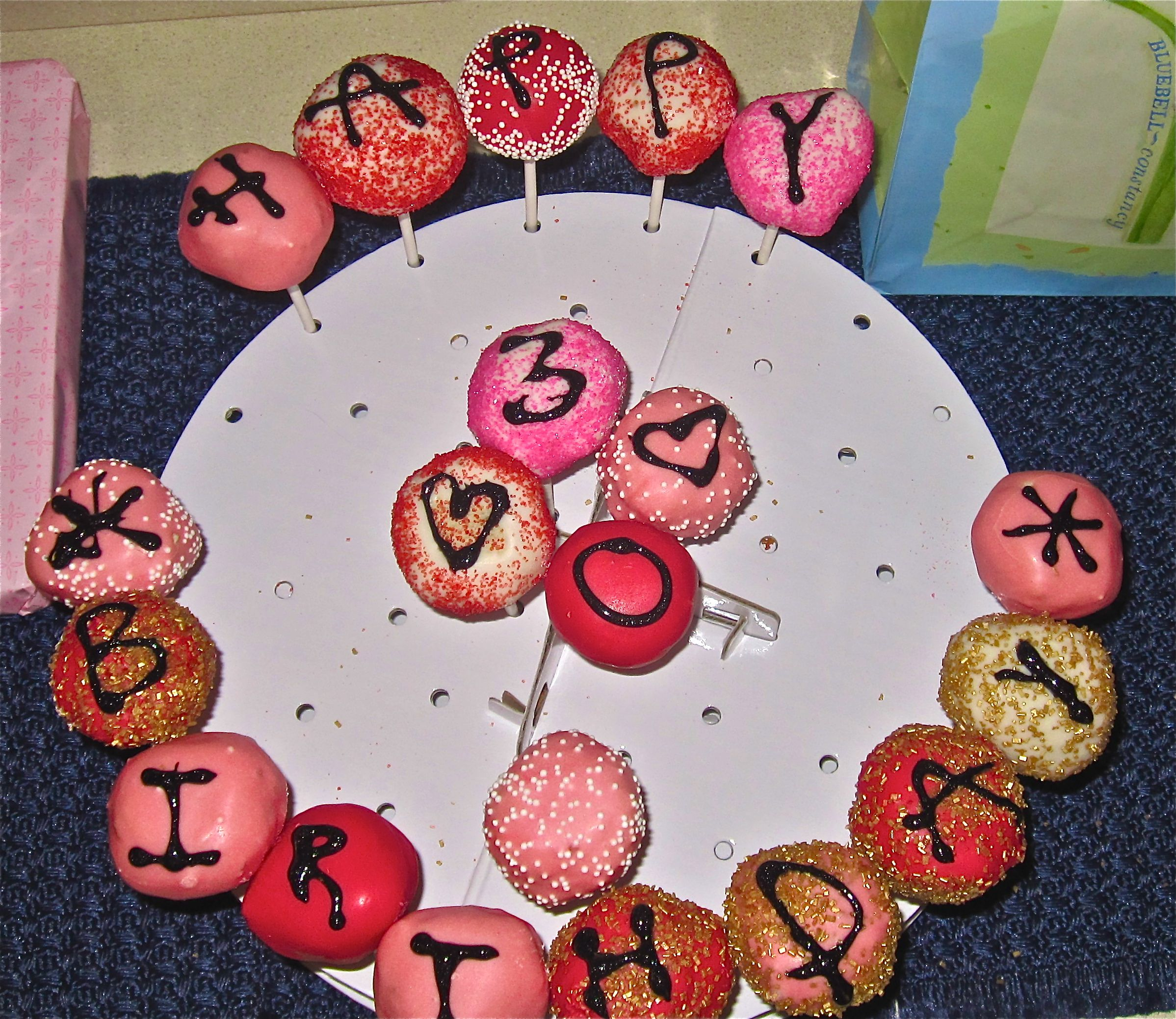 Happy Birthday Cake Pops In Pink Red Gold And White By Dhw Pops