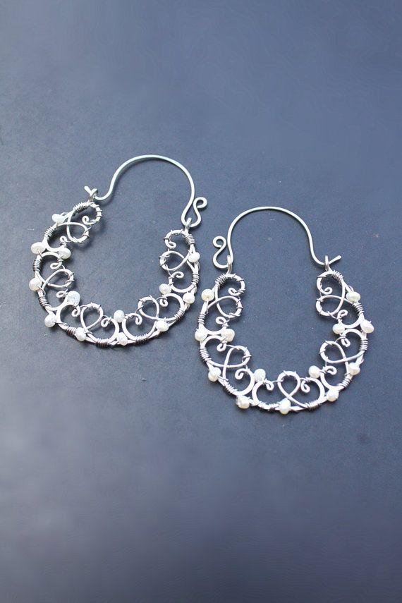 White Pearl Hoop Earrings Freshwater Pearls by SusyDeMarchiJewelry ...