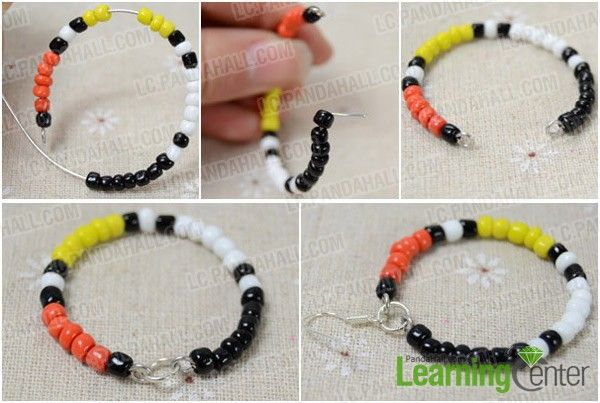 How To Make Native American Beaded Hoop Earrings With Four Colored Seed Beads Step 2 Finish The