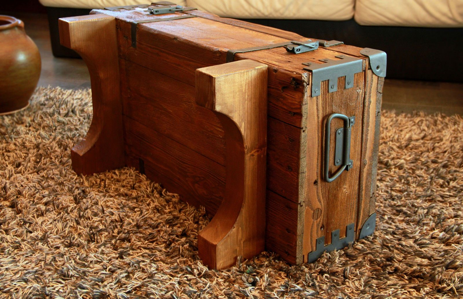 Alte Truhe Kiste Tisch Shabby Chic Holz Beistelltisch Holztruhe Couchtisch 16 12
