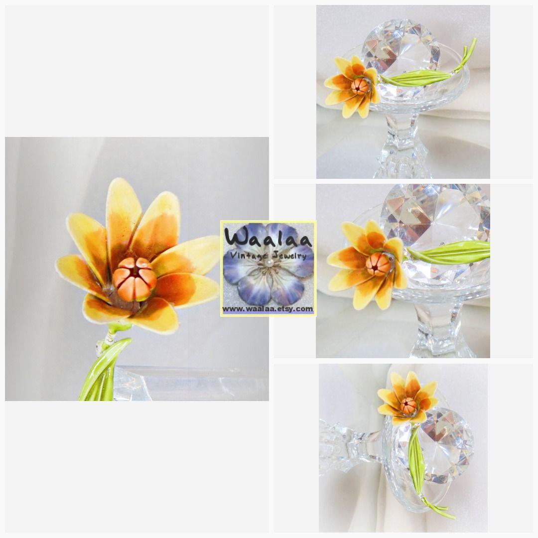flower power 60s Flower Brooch. Yellow Flower Brooch. Yellow Orange Mum Flower Pin. Flower Power Brooch. waalaa. #RetroMod70s1970s #SpringSpringtime #YellowFlowerBrooch #EnamelBohoHippie #3dFlowerBrooch #YellowMumBrooch #YellowFlowerPin #FlowerBlossom #ChristmasGiftXmas #GreenBlackYellow