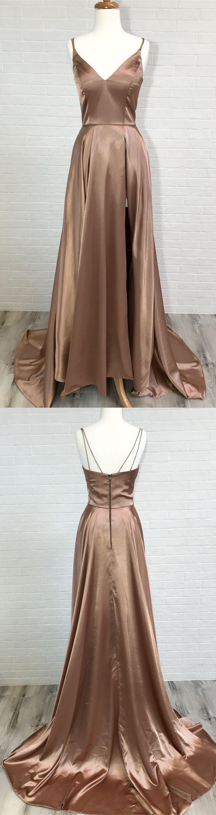 Champagne long prom dress prom dress elegant straps long prom