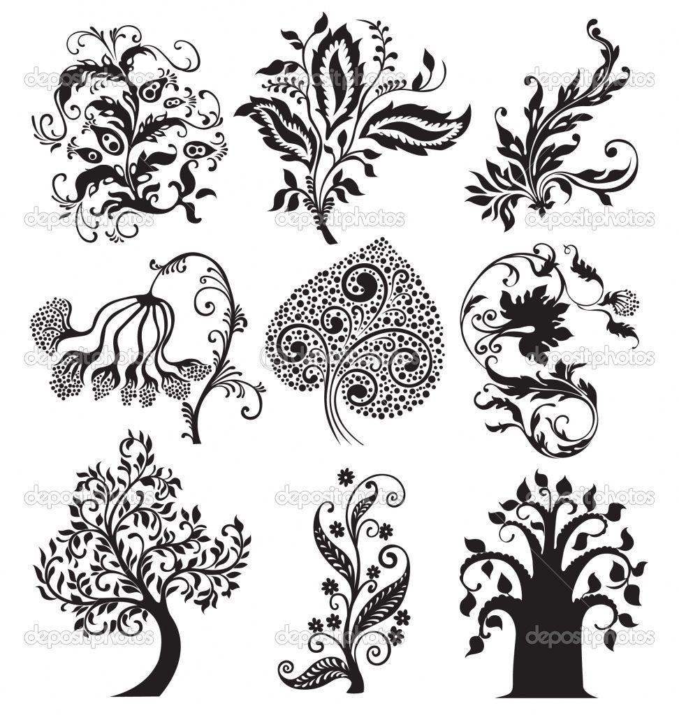 Filigree Art Designs | Flower ornament vector patterns, vintage ...