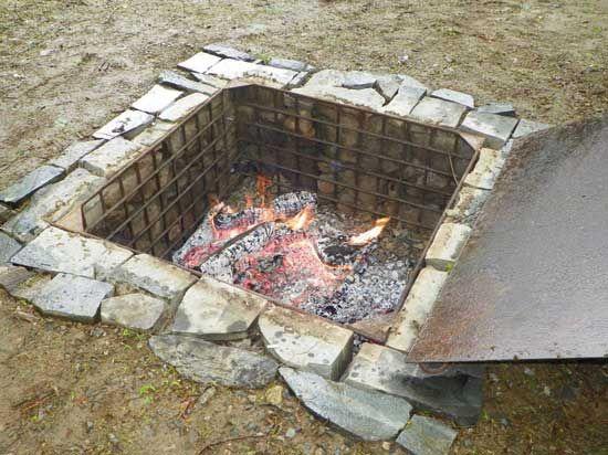 Build An Outdoor Cooking Area Farm And Garden Grit Magazine Outdoor Cooking Area Outdoor Fire Pit Outdoor Fire