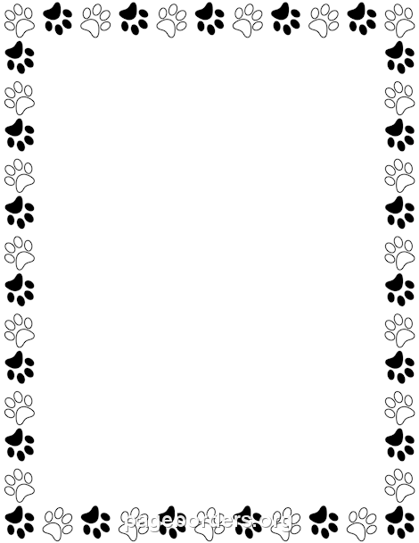 Printable Black And White Paw Print Border Use The Border In