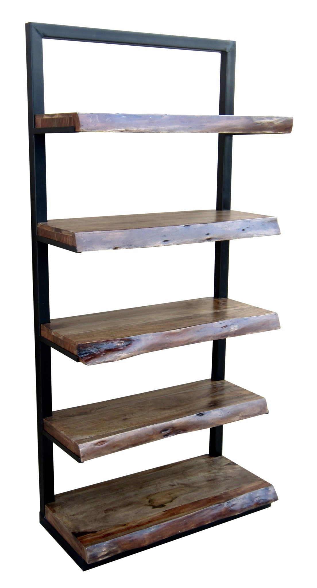 ladder shelf five floating live edge shelves in acacia wood rh pinterest com