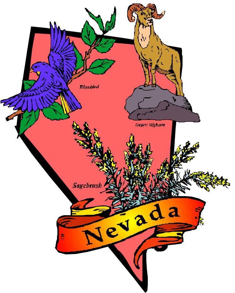 Clipart Picture Of State Of Nevada Showing State Symbols Of Bluebird
