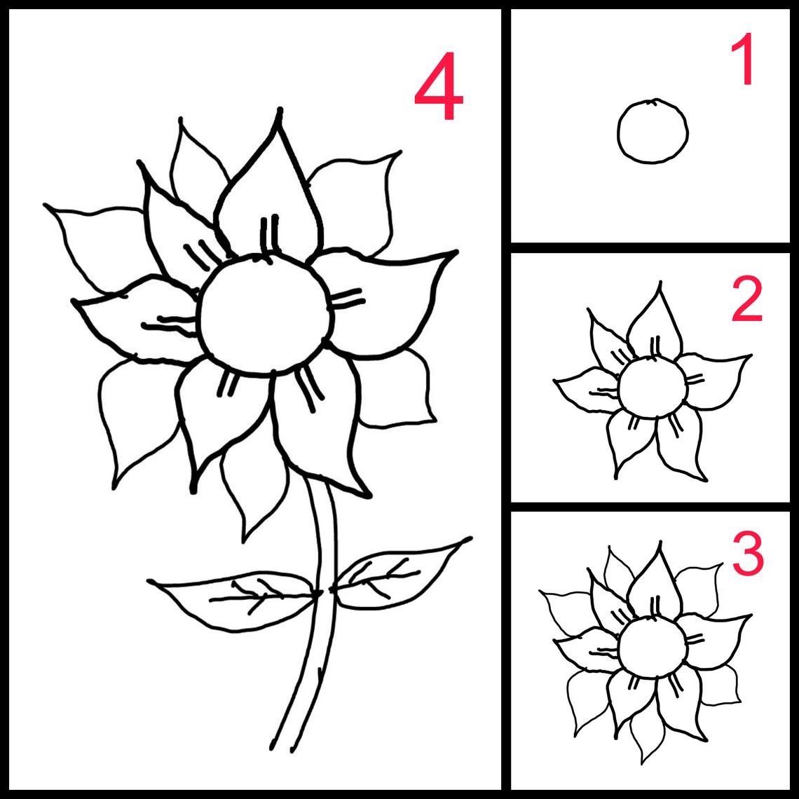 Cara Mudah Mengajari Anak Anak Menggambar Bunga Matahari Menggambar Bunga Matahari Menggambar Bunga Bunga