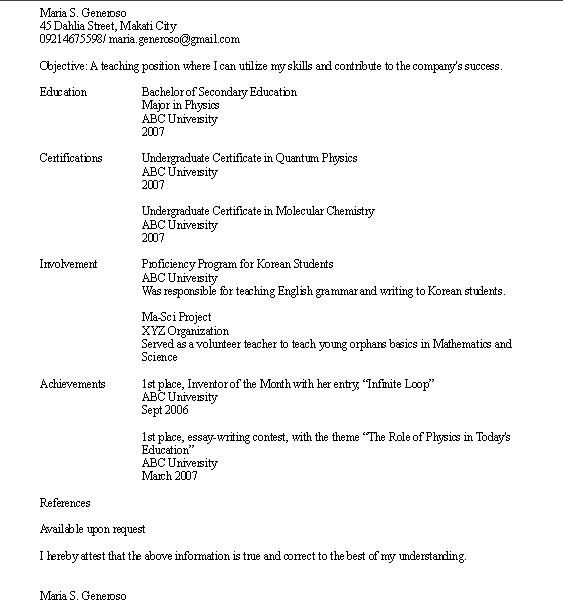 Sample Resume Objective For College Student -    www - sample resume high school students