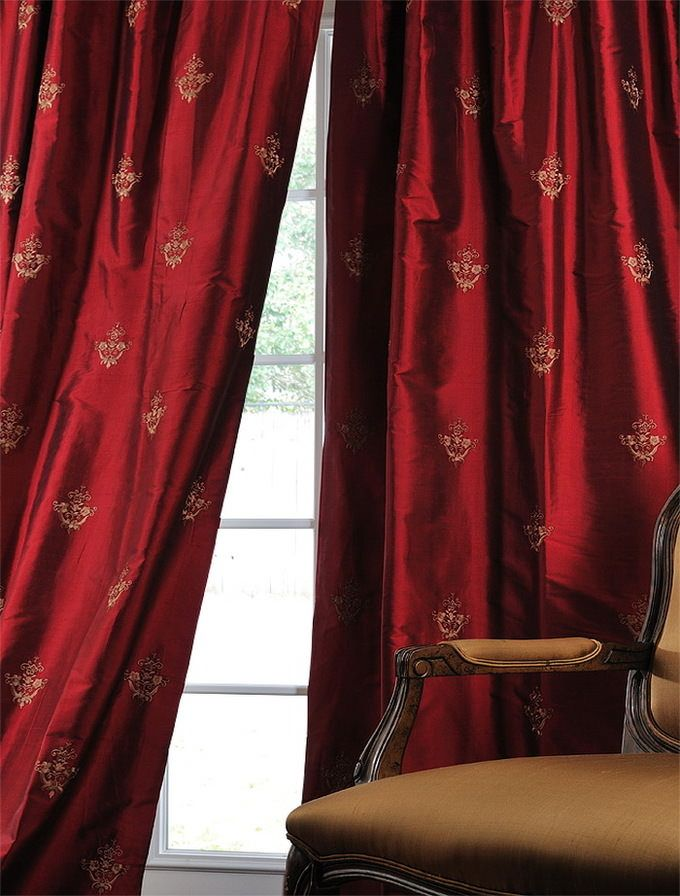 Trophy Bold Red Silk Curtain Half Price Drapes Elegant Draperies Silk Curtains #silk #curtains #for #living #room