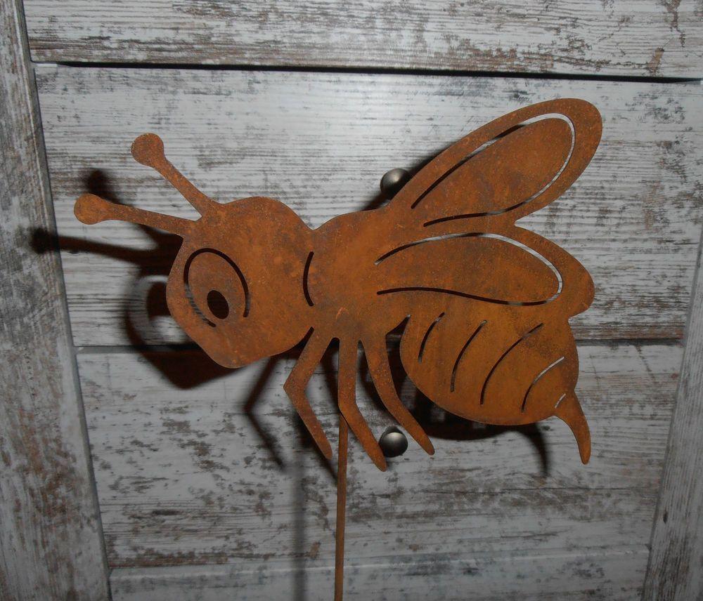Edelrost biene auf stab insekt garten rost stecker for Edelrost garten