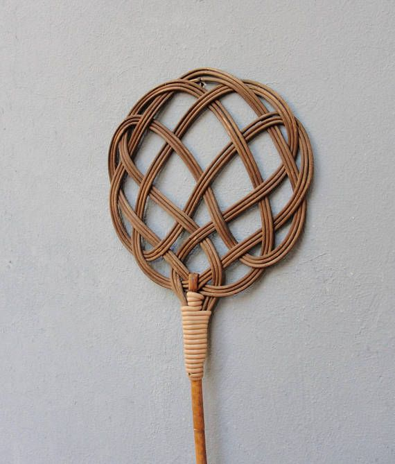 Antique Carpet Beater Rattan Celtic Knot Rug Beater 1910's