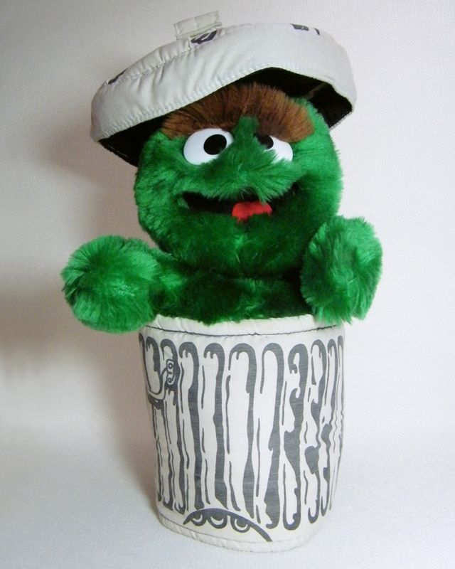 Sesame Street Oscar The Grouch Trash Can Lid 12 Puppet