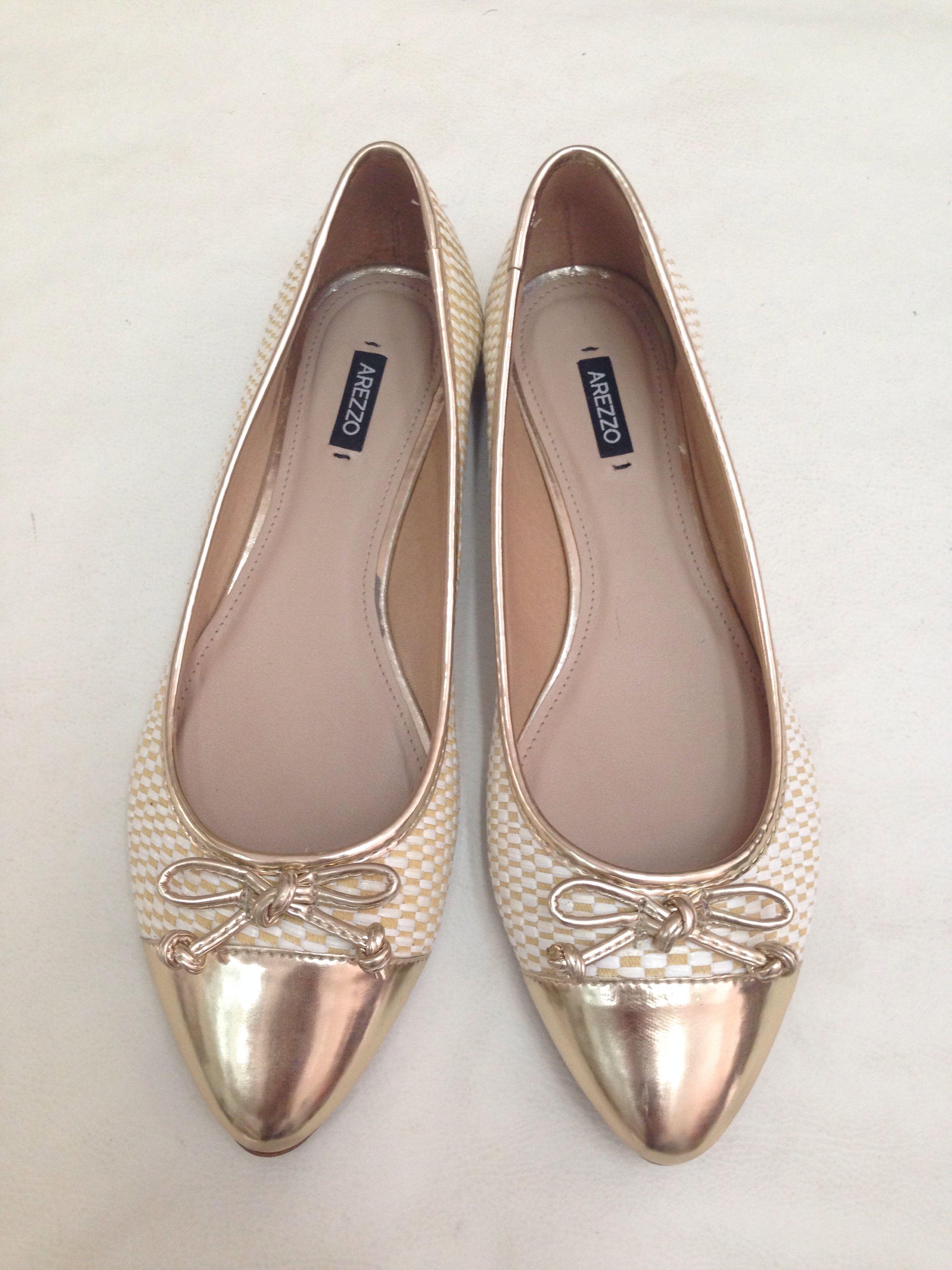 631892536 Arezzo gold flat shoes.   Shoes   Shoes, Shoes flats sandals e Footwear