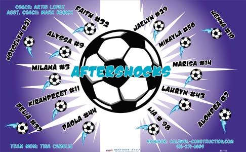 Aftershocks B51912  digitally printed vinyl soccer sports team banner. Made in the USA and shipped fast by BannersUSA.  You can easily create a similar banner using our Live Designer where you can manipulate ALL of the elements of ANY template.  You can change colors, add/change/remove text and graphics and resize the elements of your design, making it completely your own creation.
