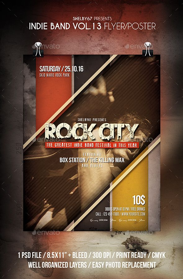 Indie Band Flyer / Poster Vol 13 Pinterest Indie, Graphics and