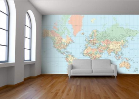 World Map Wall Decor In Living Room Ideas