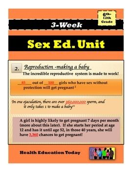 """Sex Ed. Unit: 3 Weeks of Daily Directions, Lesson Plans PowerPoints and More: Get the #1 best-selling Sex Ed. Unit on the whole TeachersPayTeachers website!! Make teaching """"Sex Ed."""" easy with a PowerPoint that walks you through the lesson!!! My 9th graders always tell me this is their favorite unit!! This Common Core aligned 3-week Sex Ed. Unit will help you present an engaging, medically-based, revealing, and interesting sexuality unit with ease."""