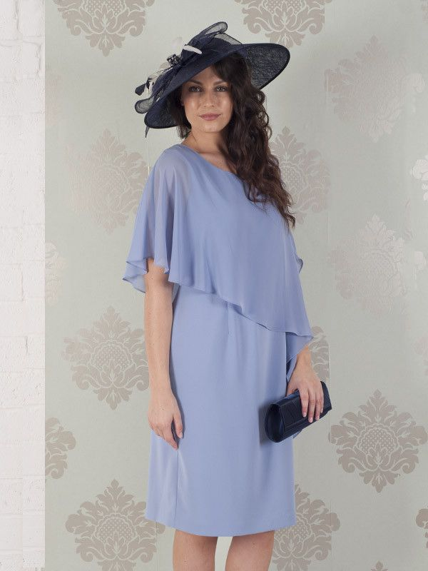 Blue Mist Dress With Asymmetric Chiffon Cape
