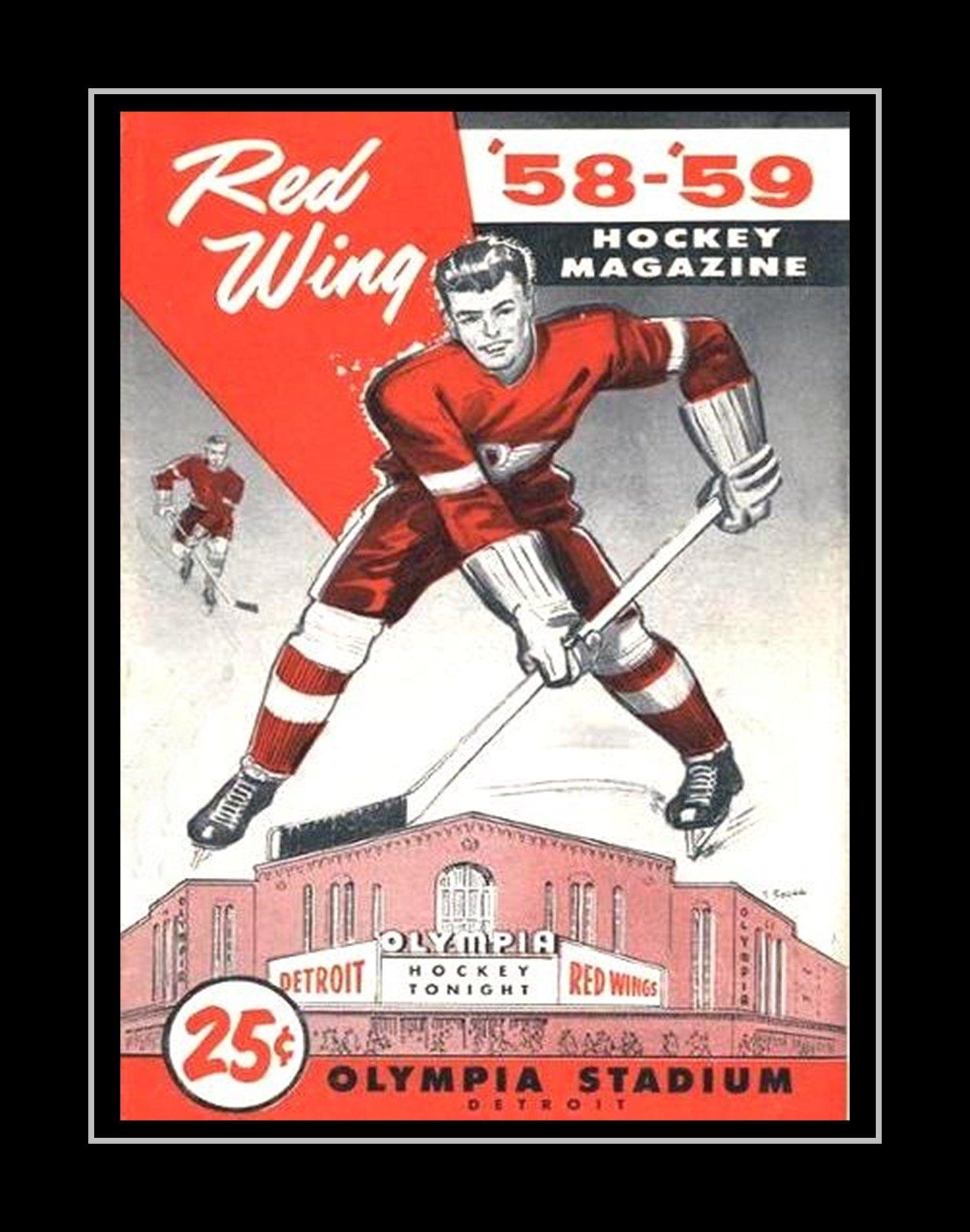 vintage detroit hockey wall art dad