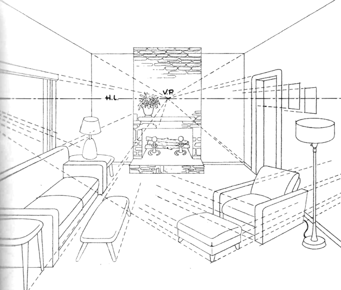 Living Room Drawings finished drawing of living room with couches, lamps, coffee tables