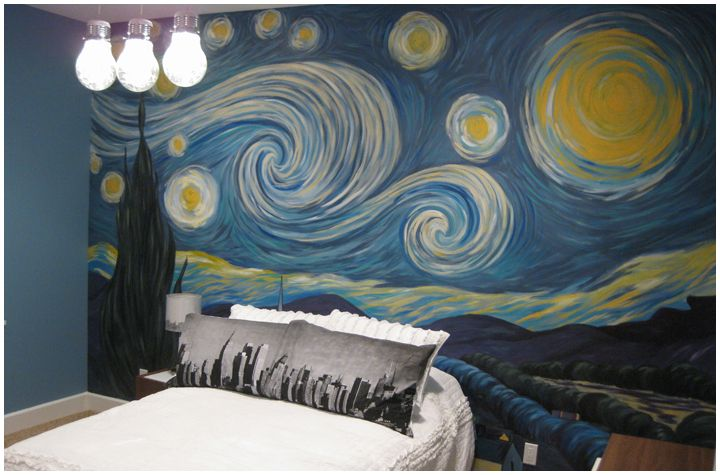 Starry night mural a r t pinterest - How to paint murals on bedroom walls ...