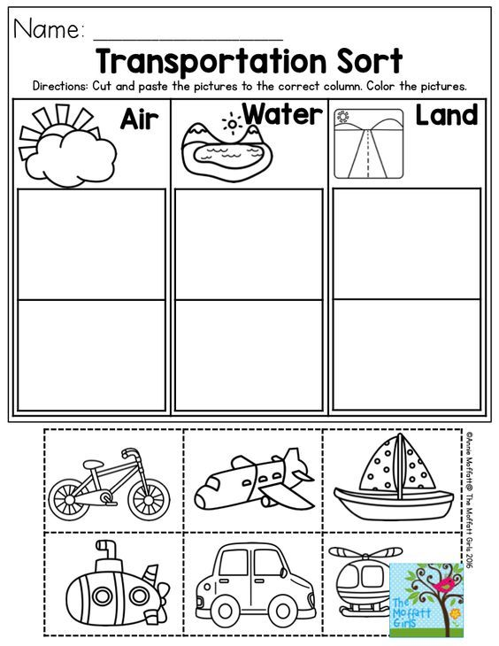 Land air water coloring sheet Can also be used for sorting