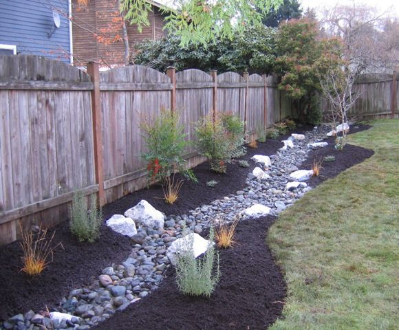 Drainage trench becomes a stream | Backyard garden ...