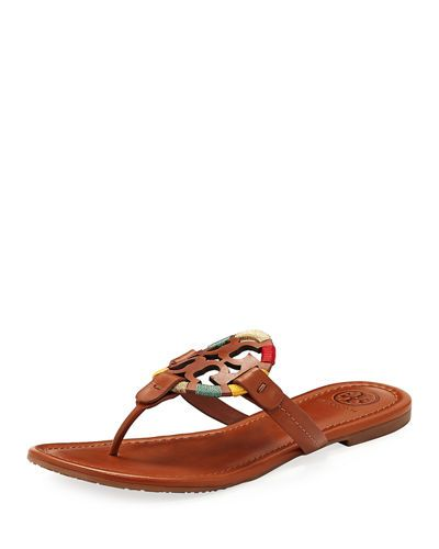 82988ed2edcf TORY BURCH MILLER FLAT EMBROIDERED MEDALLION SANDAL.  toryburch  shoes