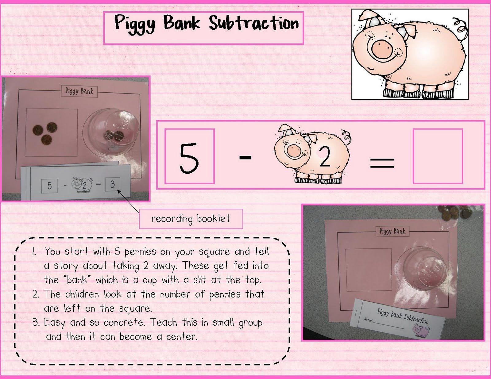 Kindergarten Crayons Piggy Bank Subtraction Fun
