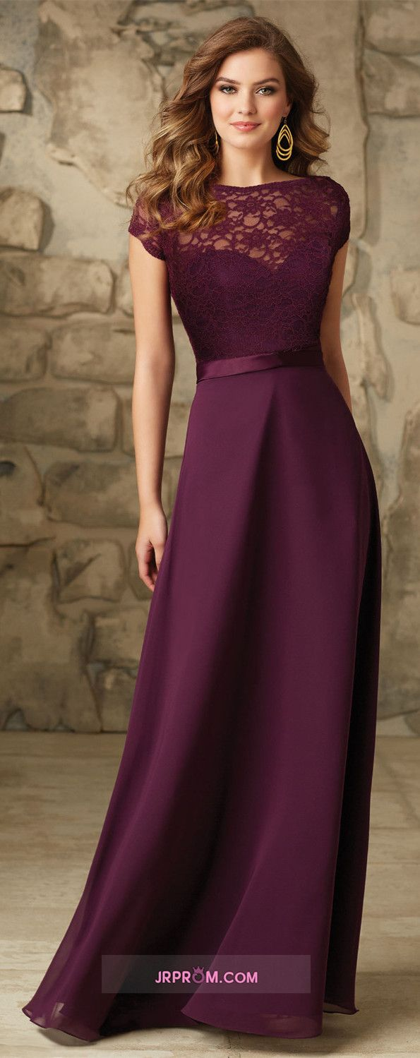 Cap Sleeve Chiffon & Lace Bridesmaid Dresses A-Line Floor-Length Item Code:#JRP5GE4QZJ