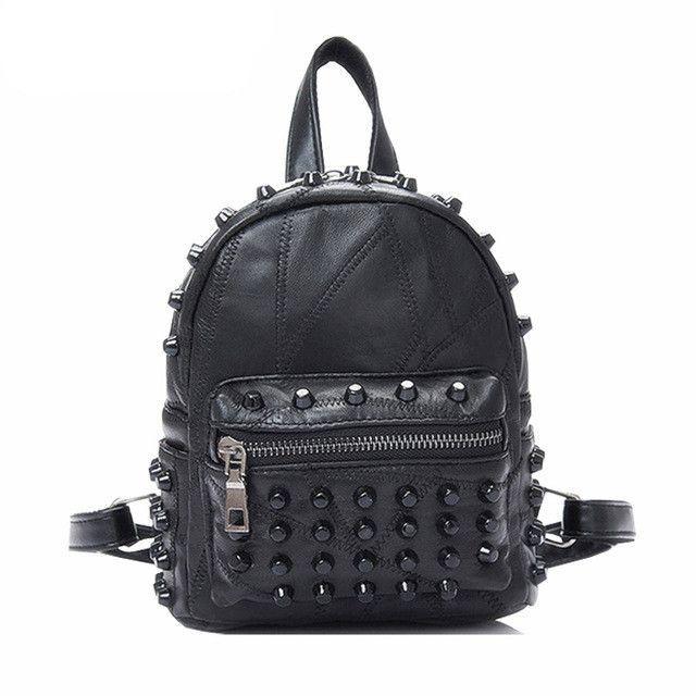 Famous Brand 100% Genuine Leather Women Backpacks Sheepskin Daily Backpack  Girl School Bag Rivet Travel 8065f26a239a6